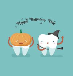 happy halloween day teeth and tooth concept of de vector image vector image