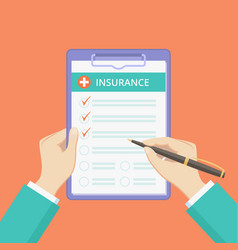 health insurance policy on clipboard with hands vector image