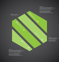 Hexagon template consists of four green parts on vector