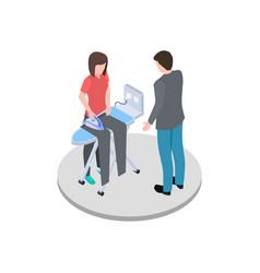 Housewife ironing her husband pants isometric vector