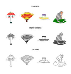 Isolated object of travel and tourism sign set of vector