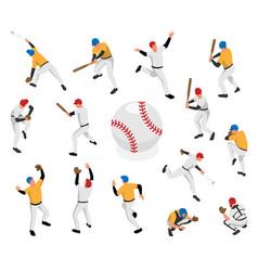 isometric baseball icon set vector image