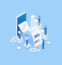 isometric concept business analysis analytics vector image