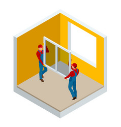 Isometric installation of windows in the house or vector