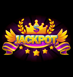 jackpot banner casino with crown and violet ribbon vector image