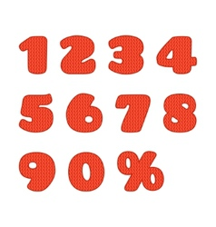 Knitted numbers set vector image