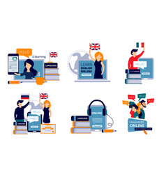 Language courses characters study vector