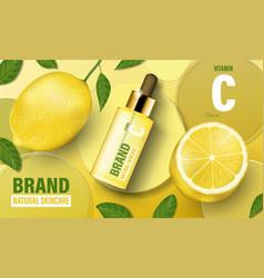 Lemon cosmetic poster ad realistic serum vector