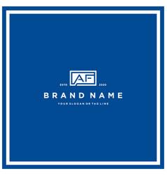 Letter af rectangle logo design vector
