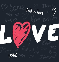Love text pattern vector