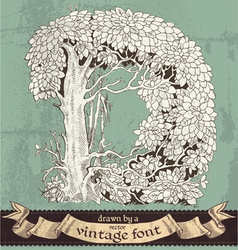 Magic grunge forest hand drawn by vintage font -D vector