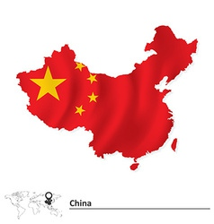 Map of China with flag vector image