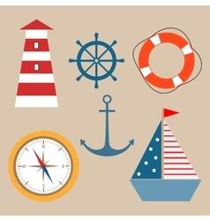 Marine theme set vector