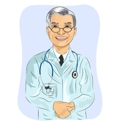 Mature male doctor with glasses vector