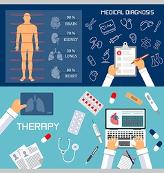 Medical diagnosis and therapy flat banners vector image