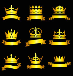 Medieval king tiaras gold crowns and ribbon vector