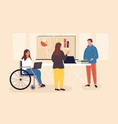 millennials working in office vector image