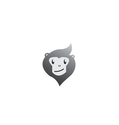 Monkey head with face smile for logo design vector