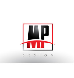 Mp m p logo letters with red and black colors and vector
