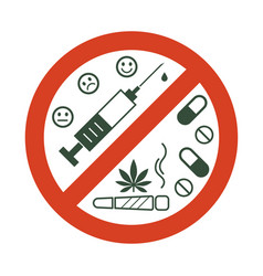 No drugs allowed drugs marijuana leaf with vector