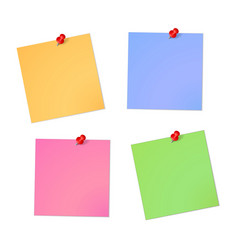 Note paper sheet set with red pin vector