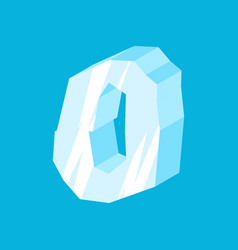 Number 0 ice icicles font zero frozen alphabet vector
