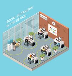 Office social distancing composition vector