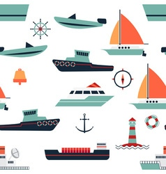 Pattern of ships and boats vector