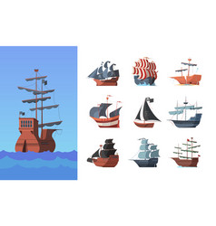 pirate boats old shipping sails traditional vector image