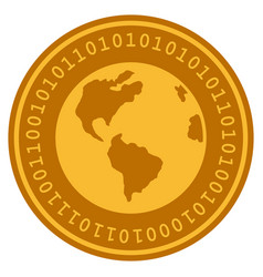 Planet earth digital coin vector