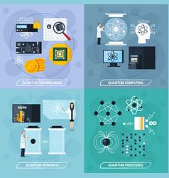 Quantum processes 2x2 design concept vector