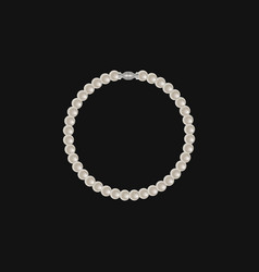 realistic pearl bracelet isolated on black vector image