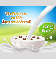 Realistic poster with a milk splash vector