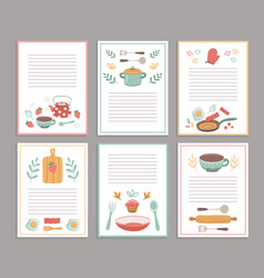 Recipe cards culinary book blank pages cookbook vector