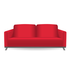 red sofa mockup realistic style vector image