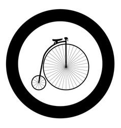 retro bicycle black icon in circle vector image
