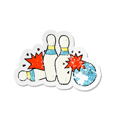 Retro distressed sticker of a cartoon bowling vector