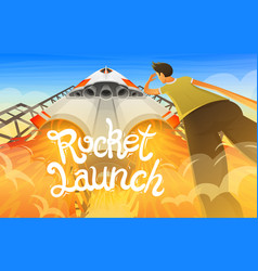 rocket launch international spaceship shuttle in vector image