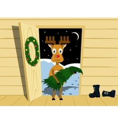 Rudolph with the Christmas tree vector image