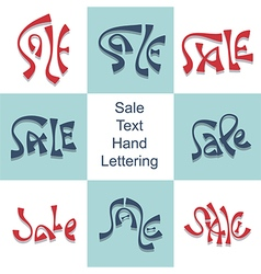 Sale hand lettering set discount price promo text vector