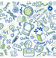 school seamless pattern on squared paper vector image