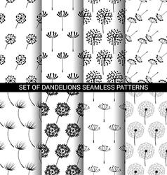 set dandelions seamless patterns vector image