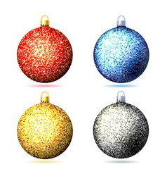 set of colored sparkling glitter christmas balls vector image