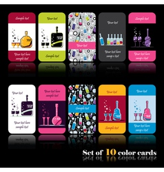 Set of ten color cards with bottles vector image