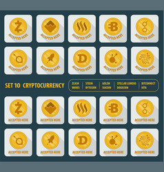 set of ten different cryptocurrency on a white vector image