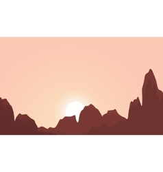Silhouette of cliff at the sunrise landscape vector