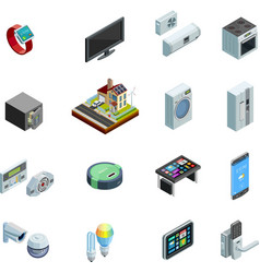 Smart home elements isometric icons collection vector