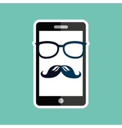 smartphone whit mustache and glasses design vector image