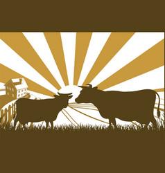 Sunrise cow farm landscape vector