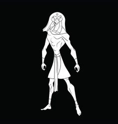 the drawing of ra on a black background vector image